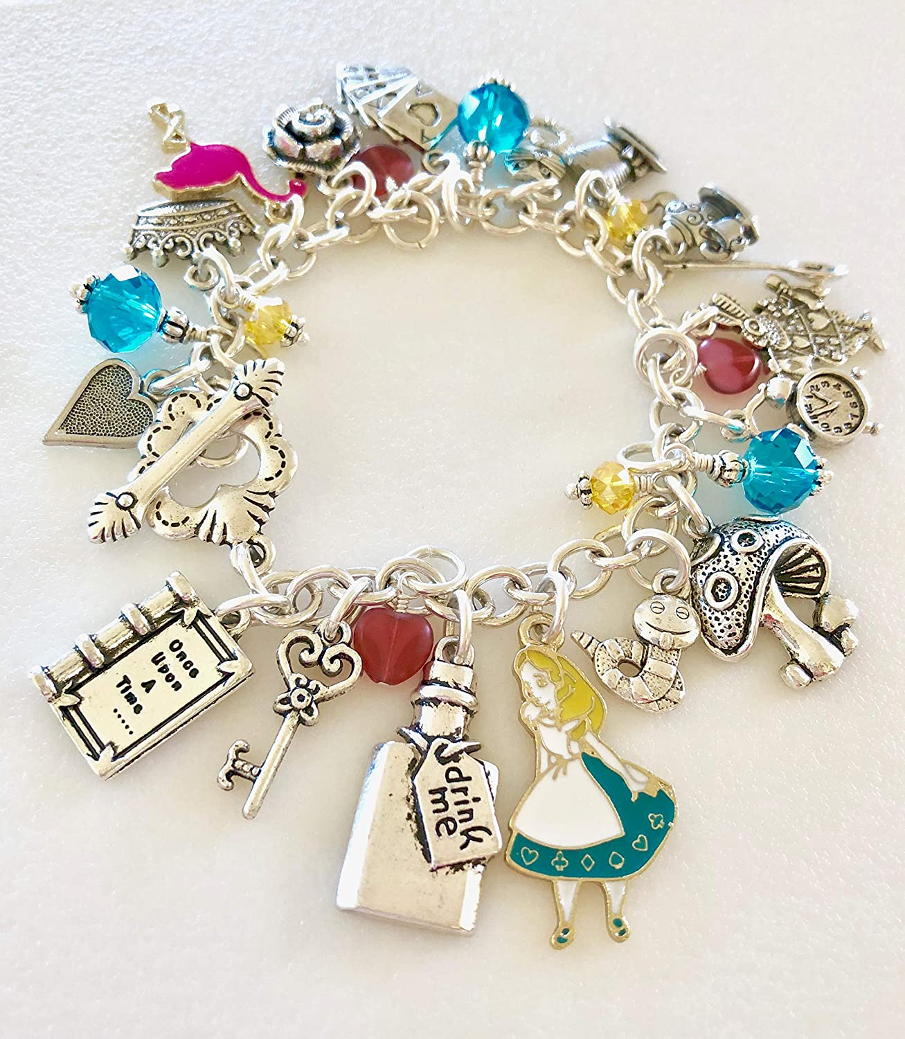 Pack of 5 Gold Tone Alice in Wonderland Charms Crown Key Drink Me FREE CHAIN