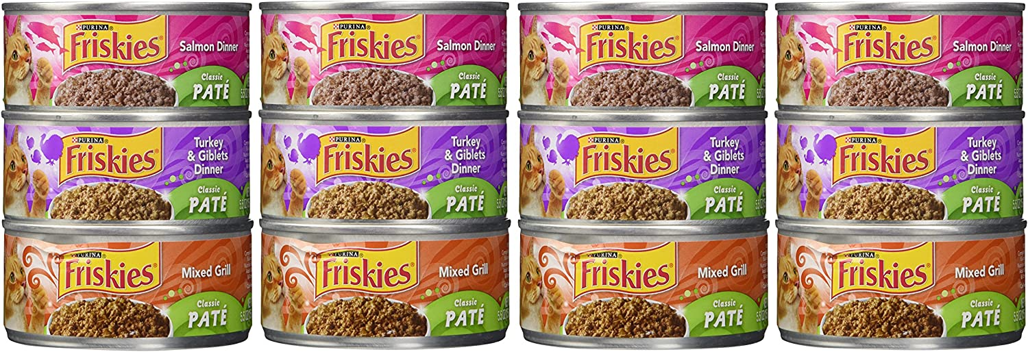 Friskies Wet Cat Food, Classic Pate, 3-Flavor Variety Pack, 5.5-Ounce Can, Pack of 12