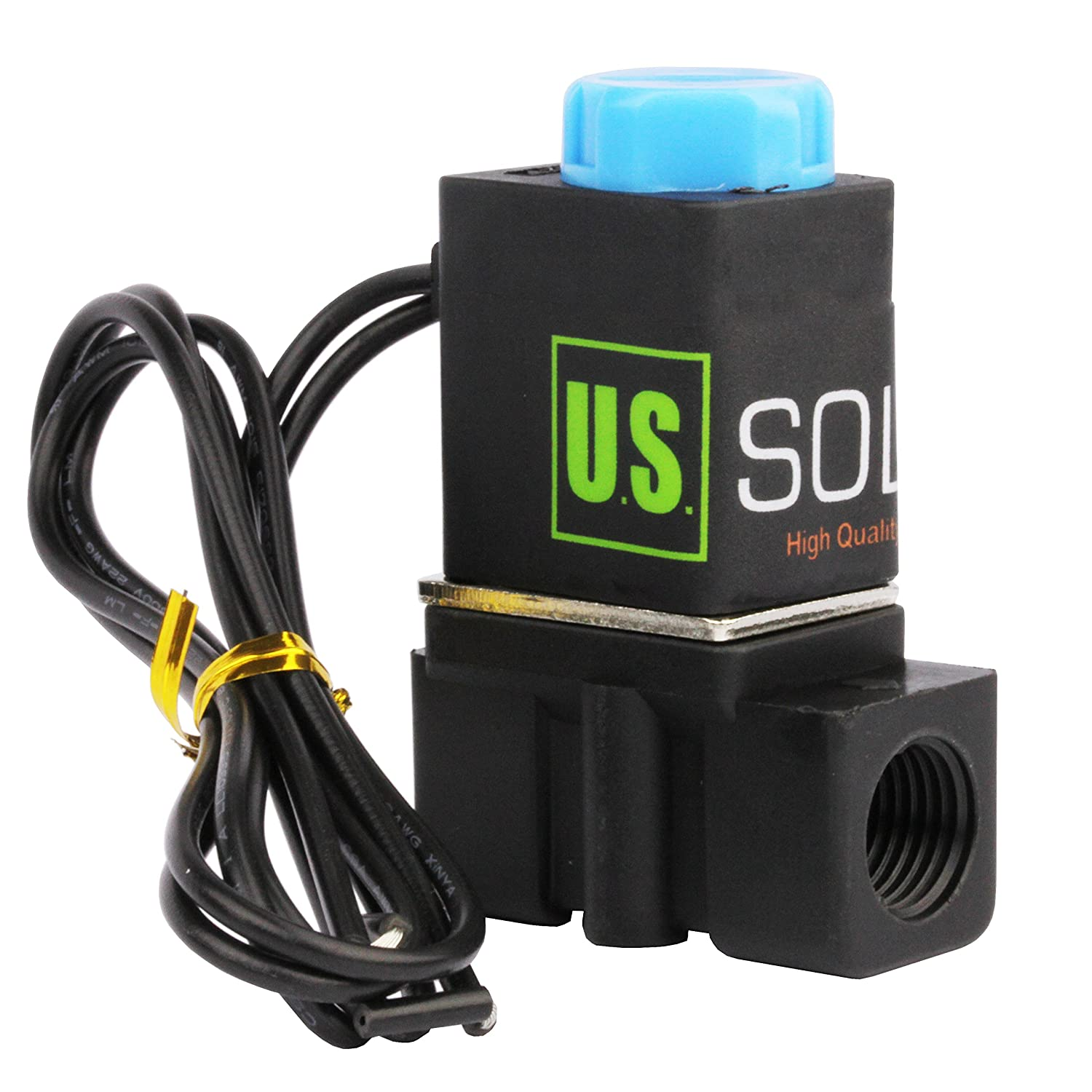 "-NEW- Solenoid Valve 1/4"" Normally Closed (N.C.) 12VDC Nylon (NEW Improved  Crack-resistant Polymer) Blue Cap by U.S. Solid: Industrial Solenoid Valves:  ..."