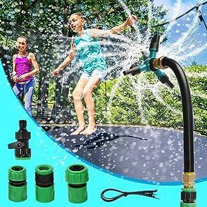 Eloptop Outdoor Trampoline Waterpark Sprinkler Trampoline Water Sprinkler Fit All Water Pipes Trampoline Accessories Games for Kids and Adults Summer Activities Fun Games in Garden Backyard