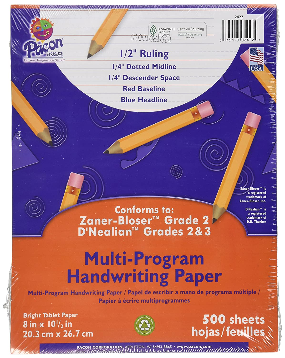 "Pacon Multi-Program Handwriting Paper, 8""X10 1/2"", D'Nealian (Grades 2&3), Zaner-Bloser (Grade 2), 500 Sheets, White"