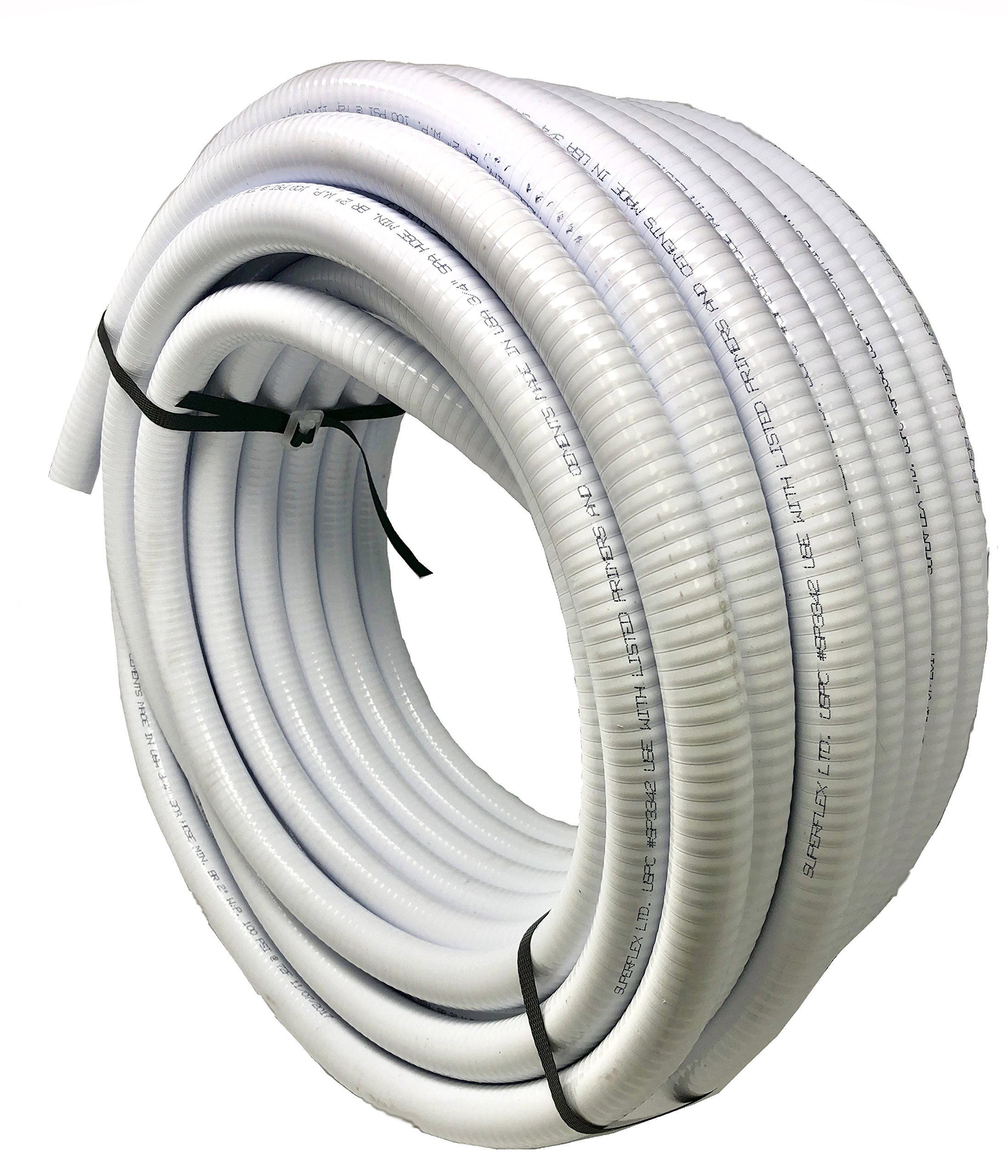 Sealproof 1-1/2'' Dia Flexible PVC Pipe, Pool and Spa Hose Tubing for Hot Tubs and Swimming Pools, Pump Filters, Pond Hose, Made in USA, 1.5-Inch, 25 FT, White by Sealproof