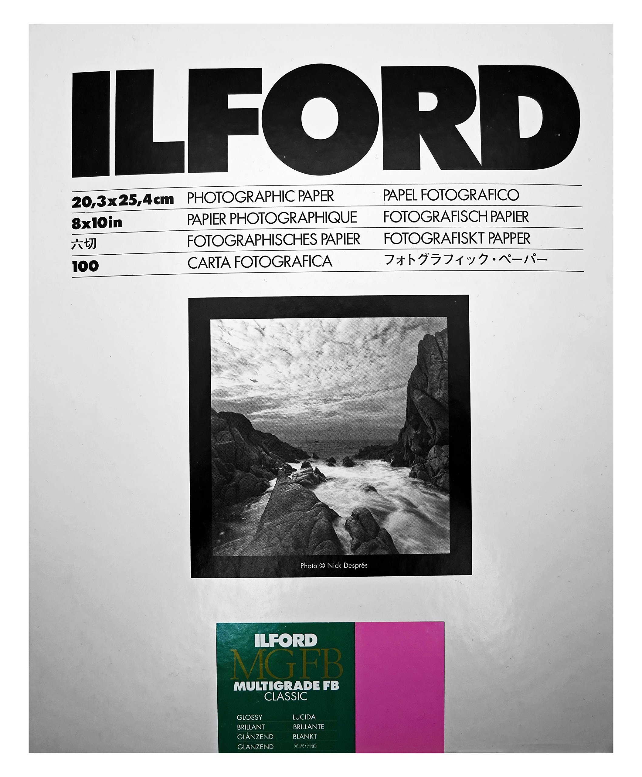 Ilford Multigrade IV FB Fiber Based VC Variable Contrast Double Weight Black and White,8x10, 100 Sheets Glossy, Enlarging Paper (1833489) by Ilford