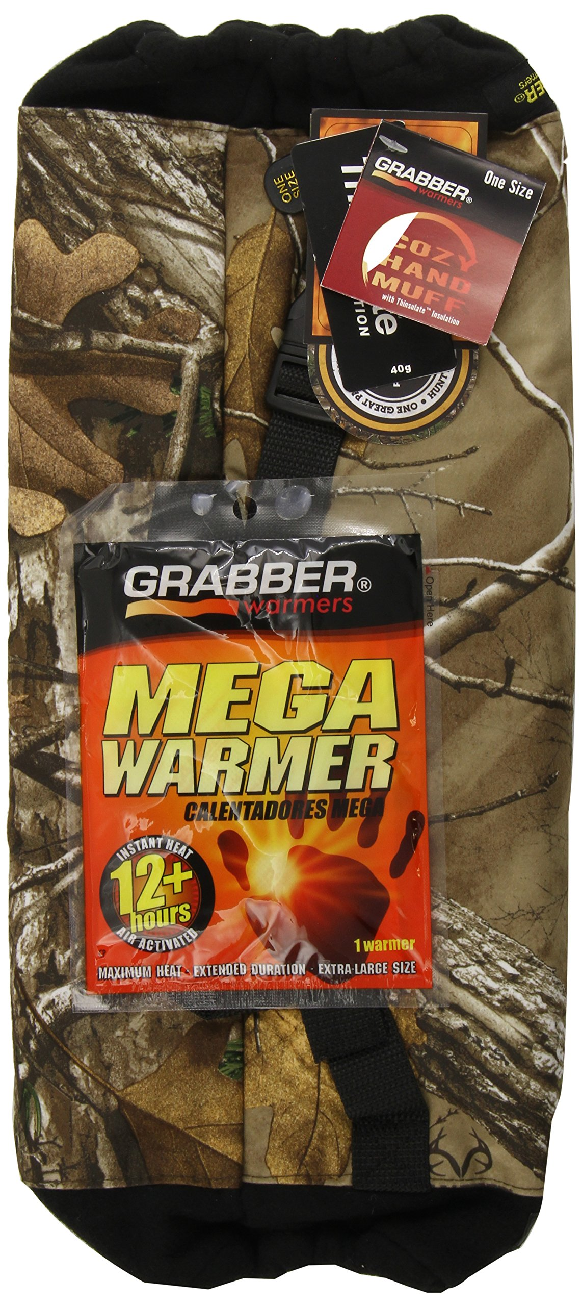 Grabber Warmers Cozy Hand Warming Muff with Inner Warmer Pocket: Free 12+ Hour Mega Warmer (RealTree All-purpose Camo)  (Pack of 12)