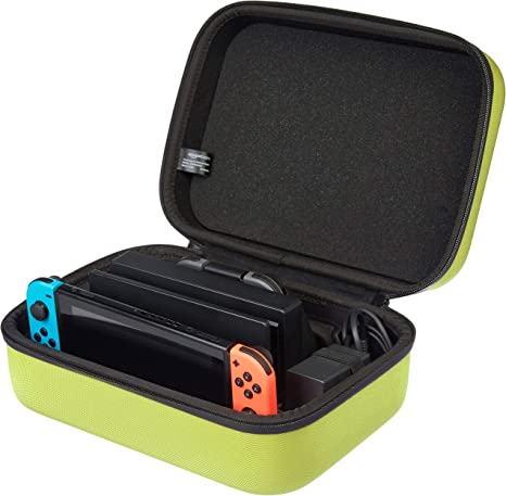 AmazonBasics - Estuche rígido de transporte y almacenamiento para Nintendo Switch, 30,5 x 12,2 x 22,9 cm, amarillo neón: Amazon.es: Videojuegos
