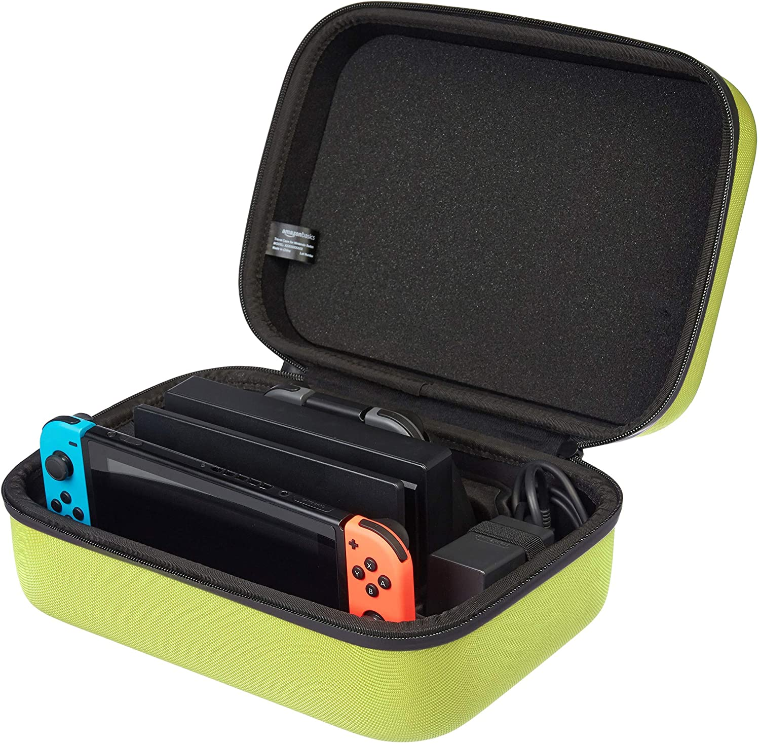 Basics Hard Shell Travel and Storage Case for Nintendo Switch - 12 x 4.8 x 9 Inches, Neon Yellow: Video Games