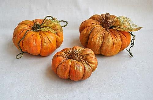 Pumpkins Set 3 Pcs Primitive Table Decor Harvest Thanksgiving Rustic Fall Decoration Country Cottage Ornament