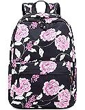 Joymoze Cute Shcoool Bookbag for Girl Casual Laptop Backpack for Women Black Flower