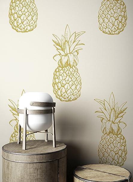 Newroom Wallpaper Beige Pineapple Modern Paper Cream Pflanzen