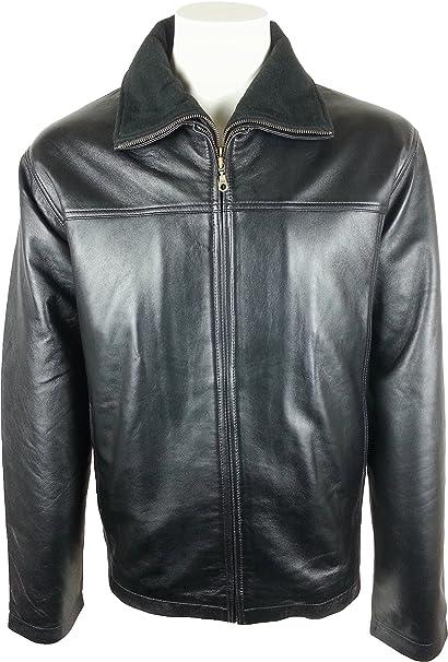 UNICORN Hombres Zip Doble Clásica abrigo - Real cuero Chaqueta - Negro napa #HF: Amazon.es: Ropa y accesorios