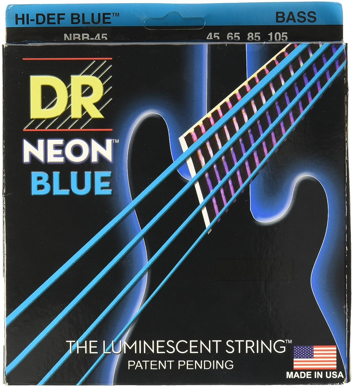 dr strings hi def neon blue coated medium 4 string 45