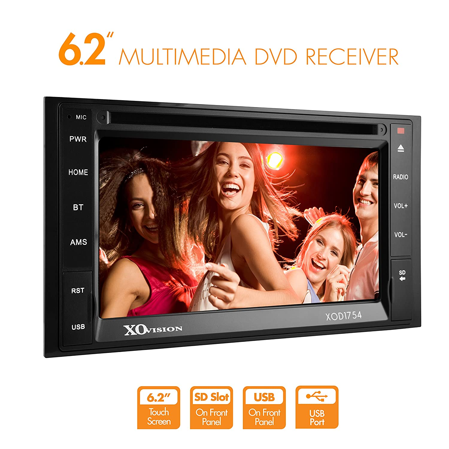 XO Vision XOD1754 6.2-Inch Touch Screen USB On Front Panel and 75WX4 Max Power SD Slot On Front Panel