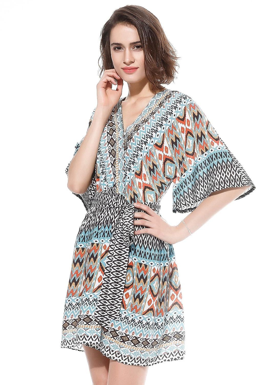 852797c6d5 Design  bold aztec tribal print dress with V-neck faux wrap style
