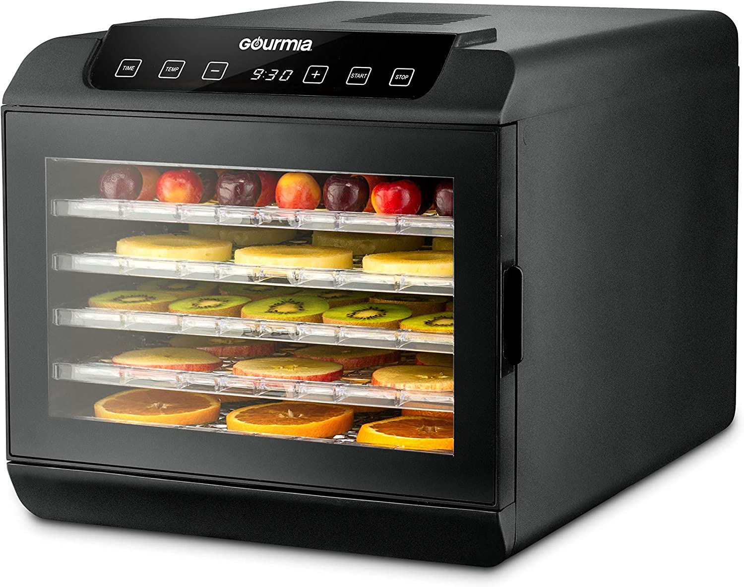 Gourmia GFD1680 Countertop Electric Food Dehydrator - 6 Drying Trays - Digital Countdown Timer - Preset Temperature Settings - Recipe Book Included