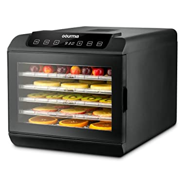 Gourmia GFD1680 Premium Countertop Food Dehydrator - 6 Drying Shelves - Digital Thermostat - Preset Temperature Settings - Airflow Circulation - Countdown Timer - Free Recipe Book Included - 110V