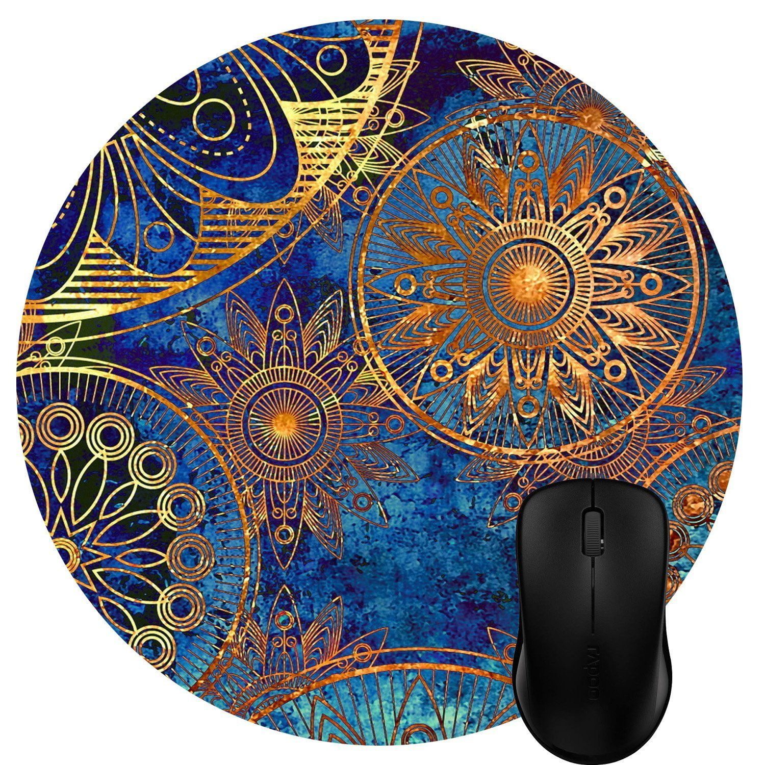 Vintage Hand Drawn Floral Wreath Art on Rustic Wood Circular Mouse Pads for Computers Laptop Wknoon Cute Round Mouse Pad Custom