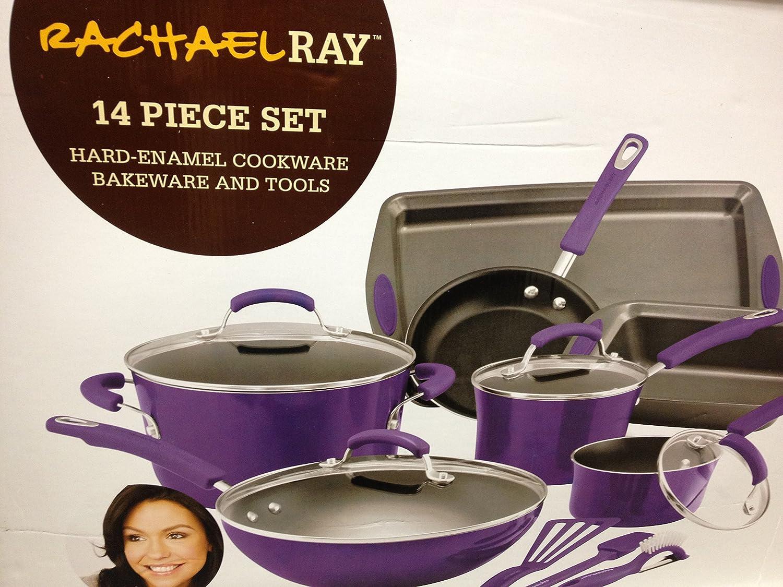 Amazon.com: Rachael Ray Purple Cookware Set Pots Pans 14 Pieces ...