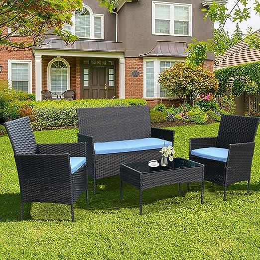 4 Piece Patio Rattan Furniture Sofa Weaving Wicker Includes 2 Armchairs,1 Double seat Sofa and 1 Table CRZDEAL Rattan Garden Furniture Set