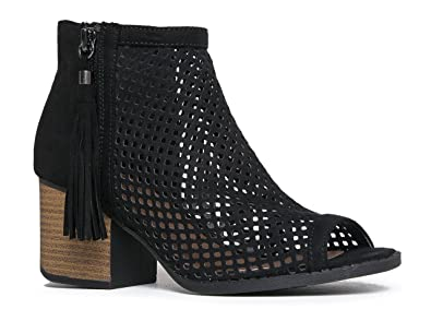 Perforated Peep Toe Ankle Bootie – Comfortable Chunky Block Heel Shoes – Low Stacked Tassel Zip Up - Maya by