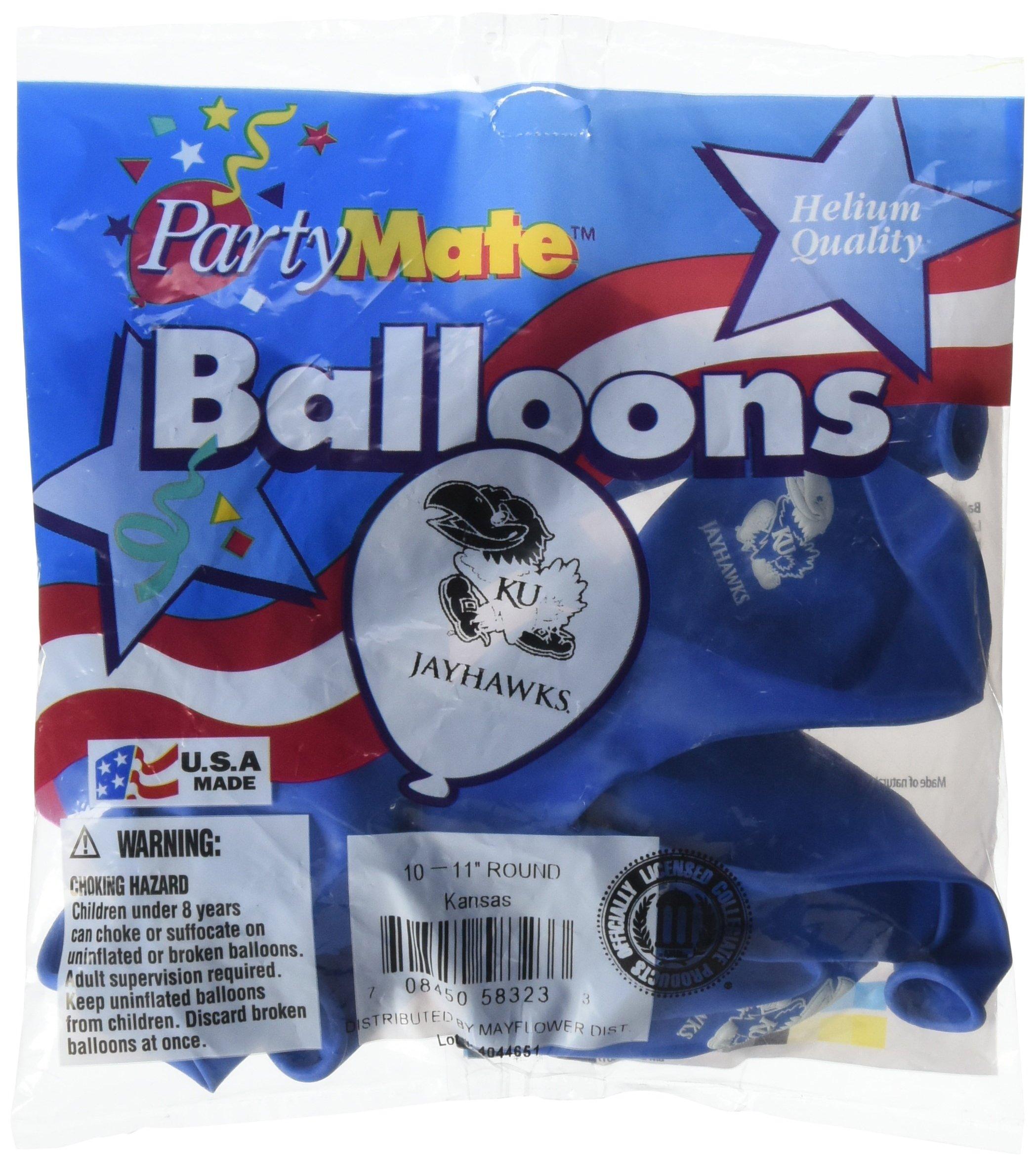 Pioneer Balloon Company 10 Count University of Kansas Latex Balloon, 11'', Multicolor
