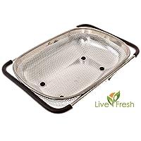 Colapasta da lavello microforato in acciaio inossidabile da 4 litri con impugnature antiscivolo e piedini in gomma prodotto da LiveFresh - Maniglie allungabili per adattarsi a qualsiasi lavello