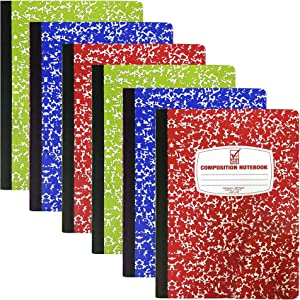 "Composition Book, Wide Ruled Notebooks [6 Pack] Assorted Marble Colors, Hard Cover 100 sheets 9.75"" x 7.5"" - Back to School Supplies For Students & College by 4E's Novelty"