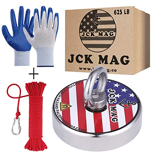 Including 65 Ft High Strength Nylon Rope 1100 lbs Fishing Magnet Kit with Case Non-Slip Nylon Gloves Anti Broke PP Box Threadlocker Glue