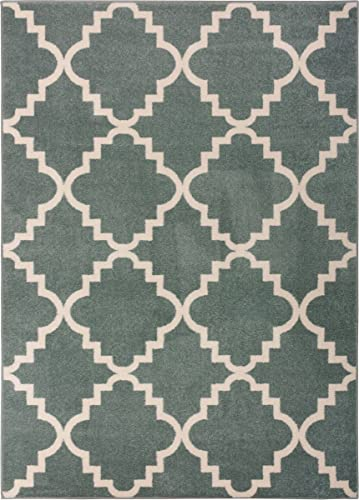 Light Blue 9×13 9 3 x 12 6 Area Rug Trellis Morrocan Modern Geometric Wavy Lines Area Rug Living Dining Room Bedroom Carpet Contemproary Traditional Soft Plush Quality