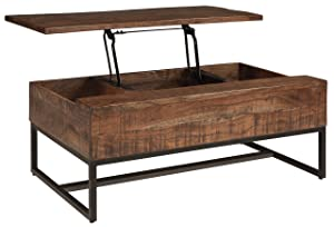 Signature Design by Ashley Hirvanton Lift Top Cocktail Table Warm Brown