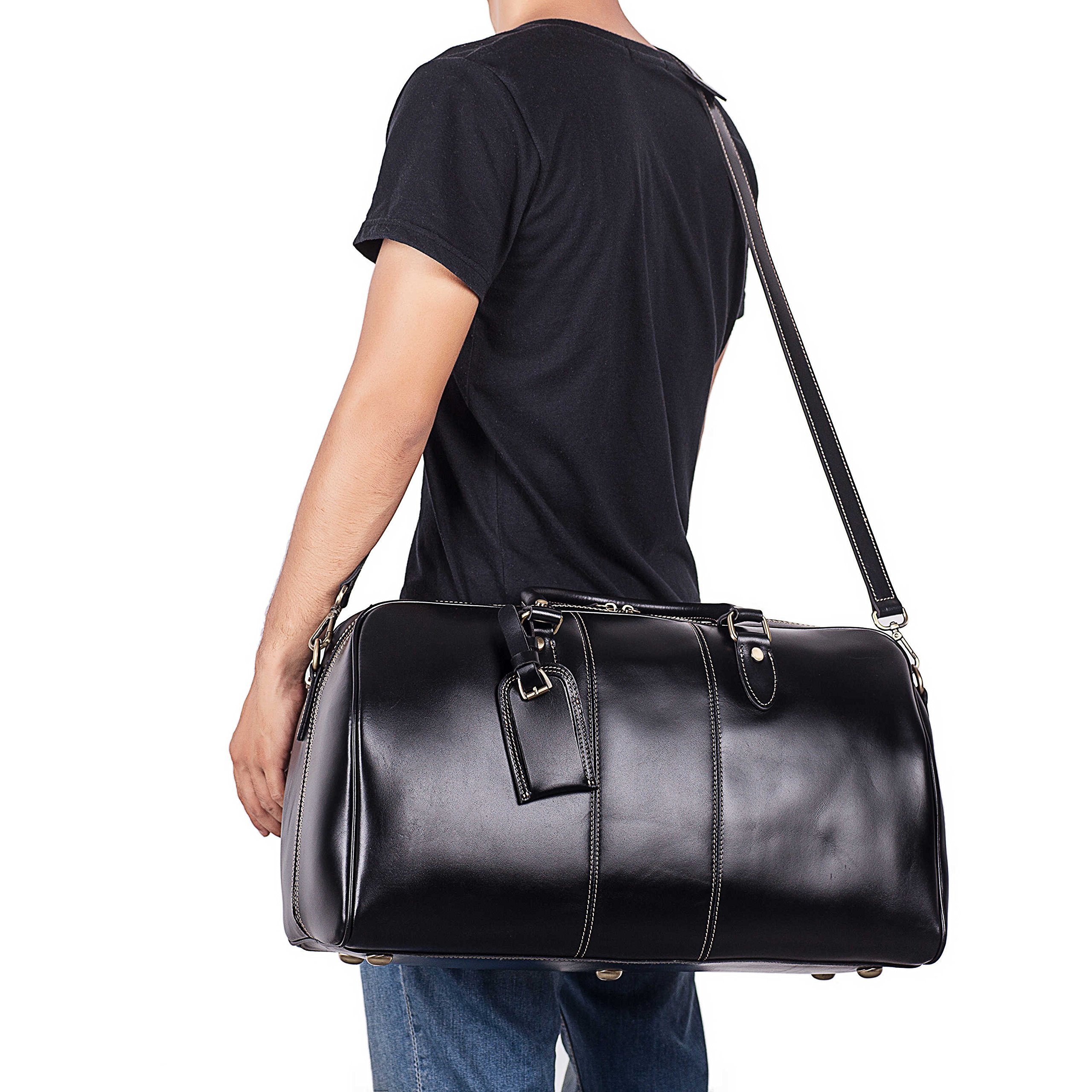 Leather Duffel Bag Travel Overnight Gym Sports Weekender Tote Bags Black by Kissloves (Image #4)