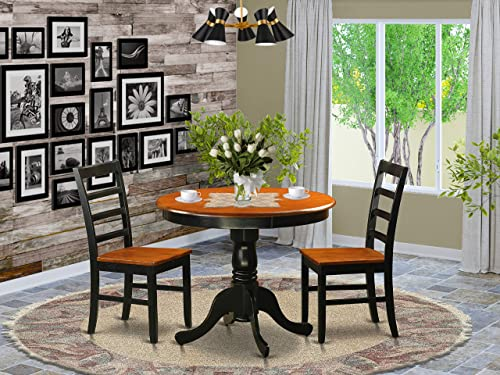 ANPF3-BLK-W Dining furniture set – 3 Pcs with 2 Wooden Chairs in Black and Cherry