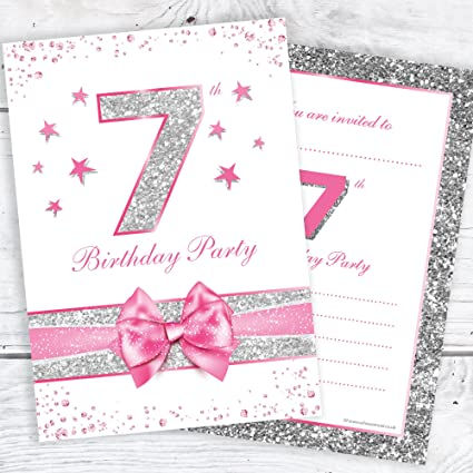 Olivia Samuel 7th Birthday Party Invitations Pink Sparkly Design And Photo Effect Silver Glitter A6 Postcard Size With Envelopes Pack Of 10