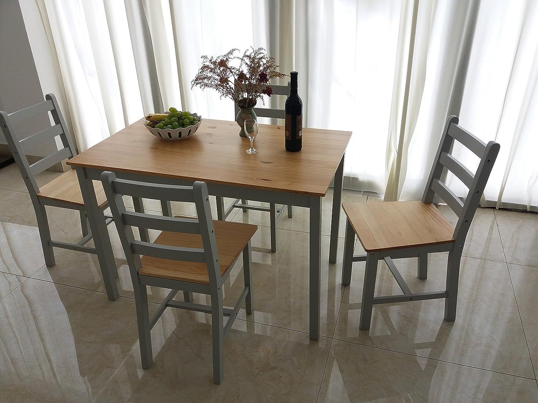 in stile contemporaneo Grey set di tavolo da pranzo e 4/sedie Panana