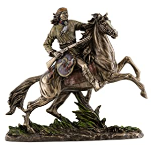 Top Collection Geronimo Going to Battle Statue -Decorative Native American Warrior on Horse Sculpture in Premium Cold Cast Bronze - 11-Inch Collectible Indigenous Indian Figurine
