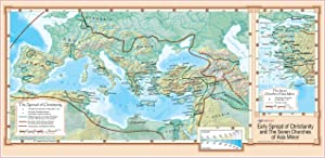 "Early Spread of Christianity and The Seven Churches of Asia Minor - Wall Map Poster 36""x18"" Paper"
