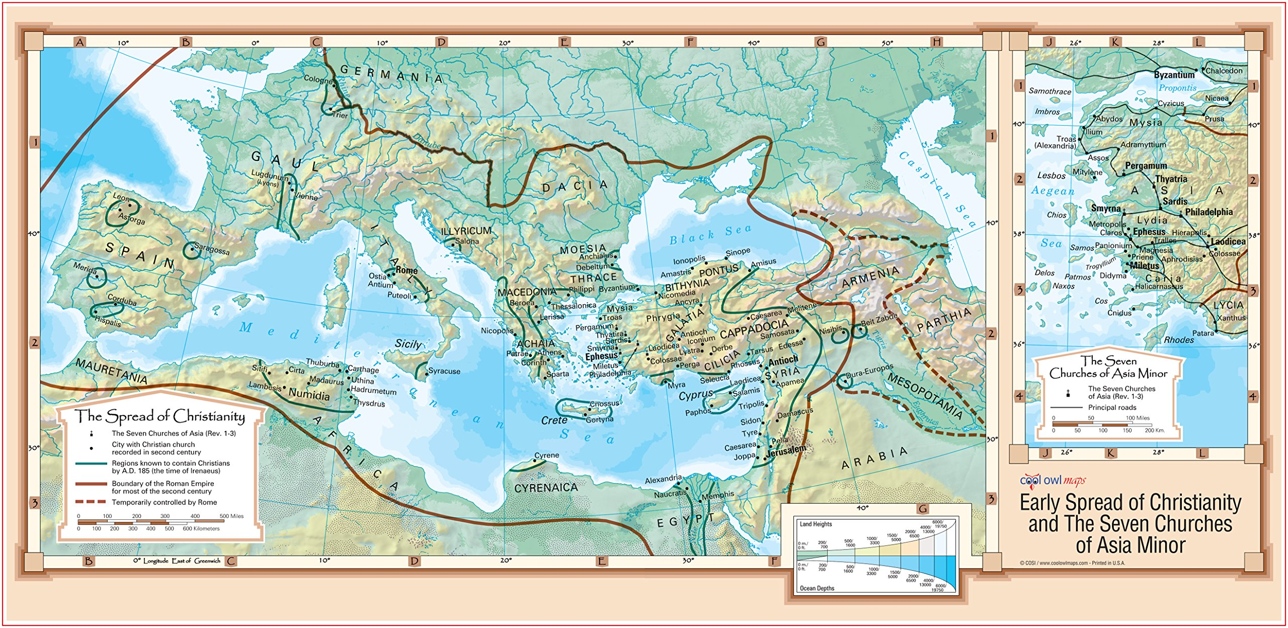 Early Spread of Christianity and The Seven Churches of Asia Minor - Wall Map Poster 36''x18'' Paper