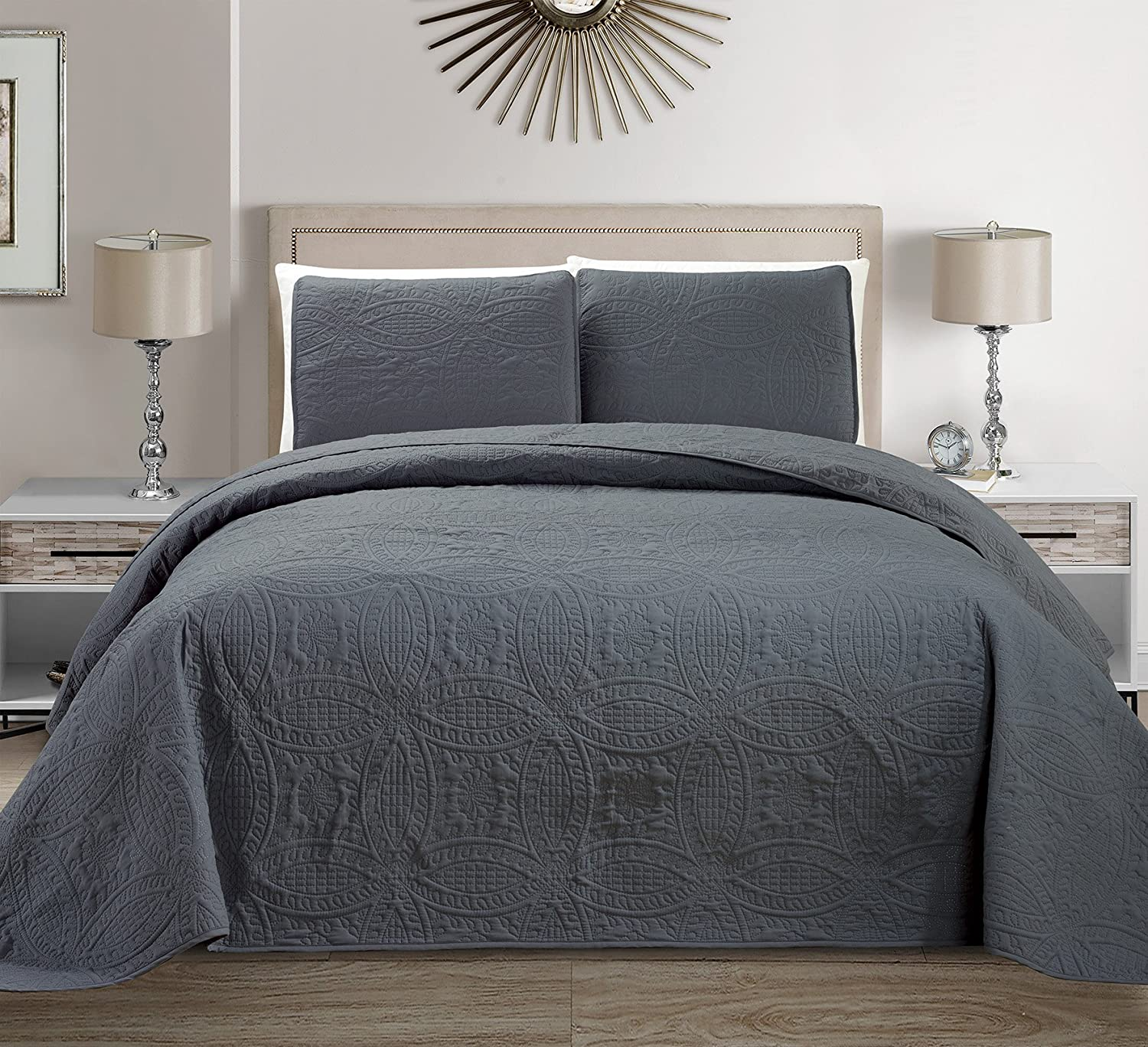 "Mk Collection 3 pc Solid Embossed Bedspread Bed-cover Over size Dark Grey New King/California King Over size 118"" x 106"""