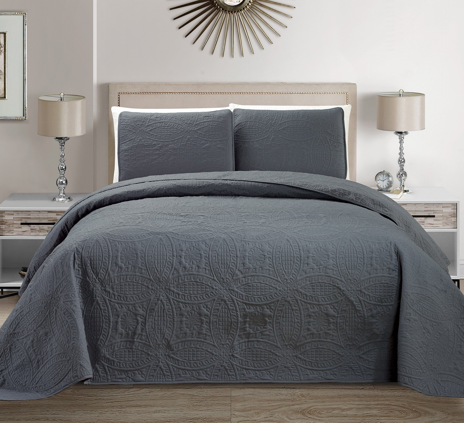 Mk Collection 3 pc Solid Embossed Bedspread Bed-cover Over size Dark Grey New King/California King Over size 118'' x 106''