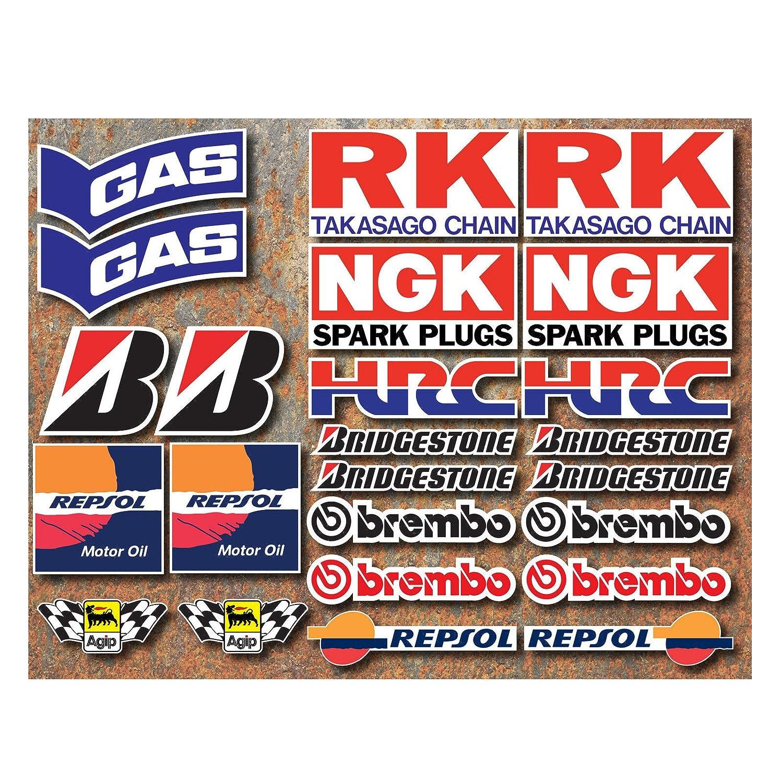 24 adhesivos de carreras de motos - HRC, GAS, RK, NGK, Bridgestone, Brembo, Repsool, de Onekool Nuke Duke