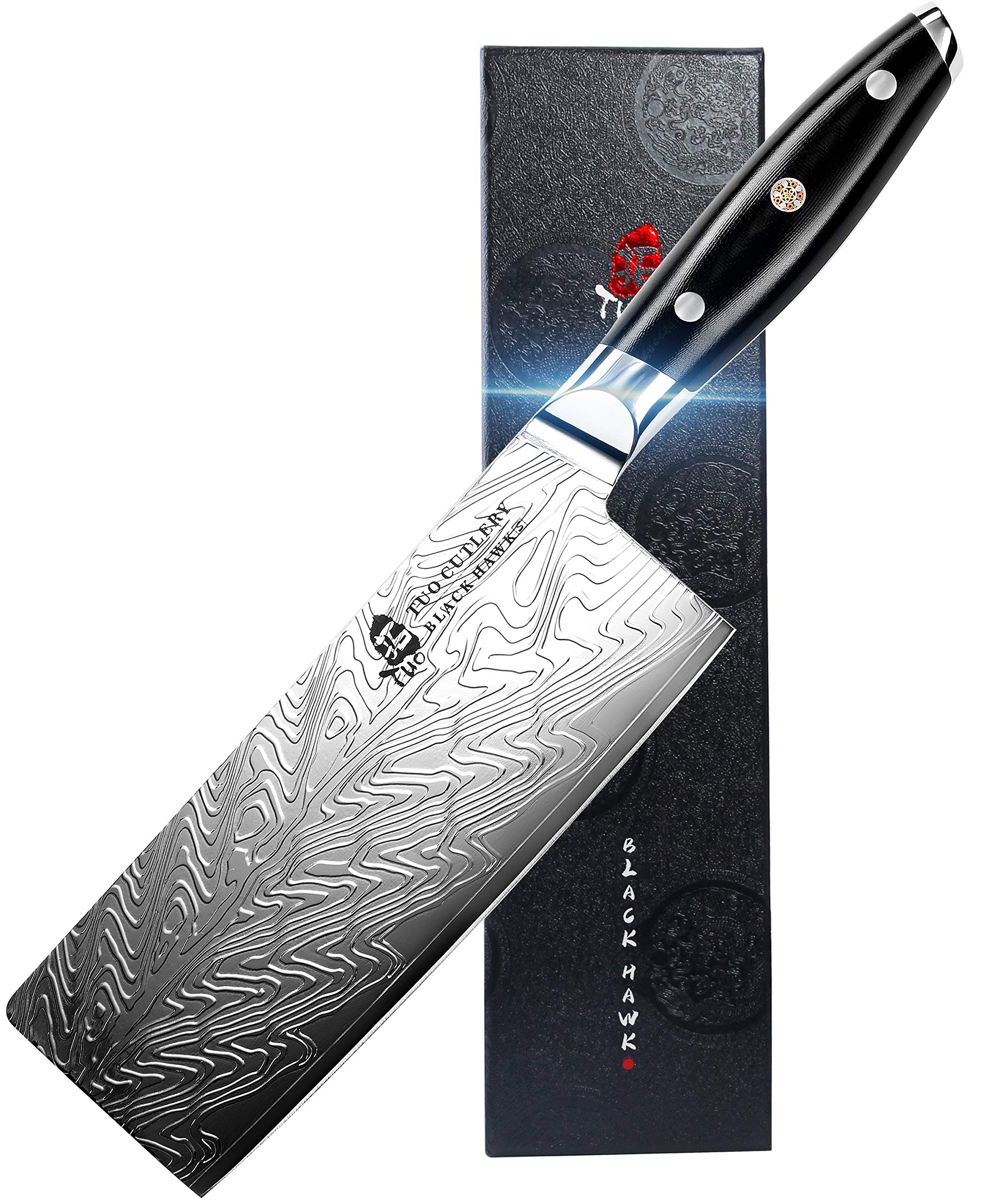 TUO Vegetable Meat Cleaver Knife - Chinese Chef's Knife 7-inch High Carbon Stainless Steel  - Kitchen Knife with G10 Full Tang handle - Black Hawk-S Including Gift Box by TUO