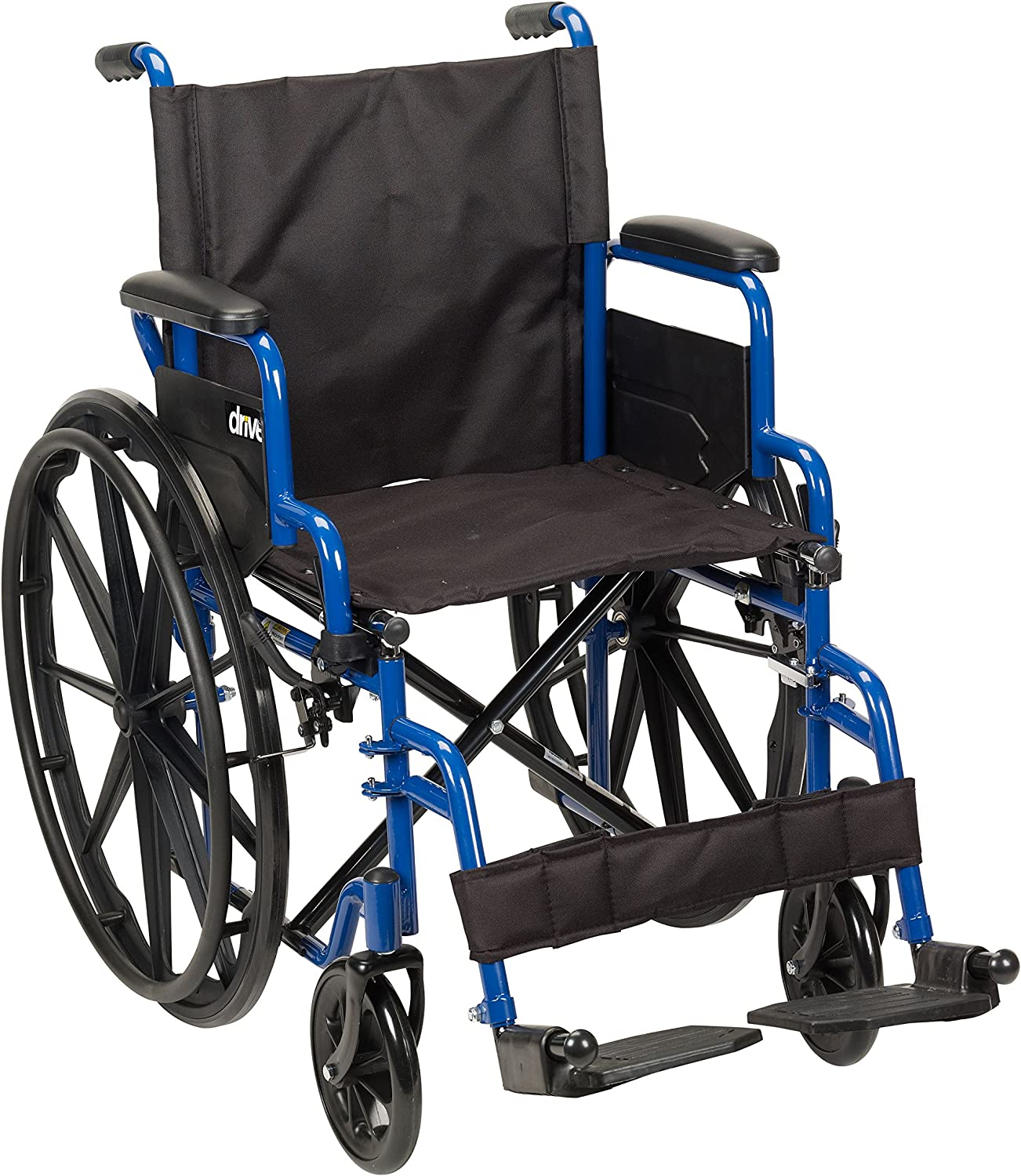 Drive Medical Blue Streak Wheelchair with Flip Back Desk Arms, Swing Away Footrests, 18 Inch Seat: Health & Personal Care