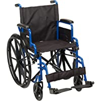 "Drive Medical Single Axle Blue Streak Wheelchair,flip Back Desk Arm,swing Away Footrests,18"",1 Count"