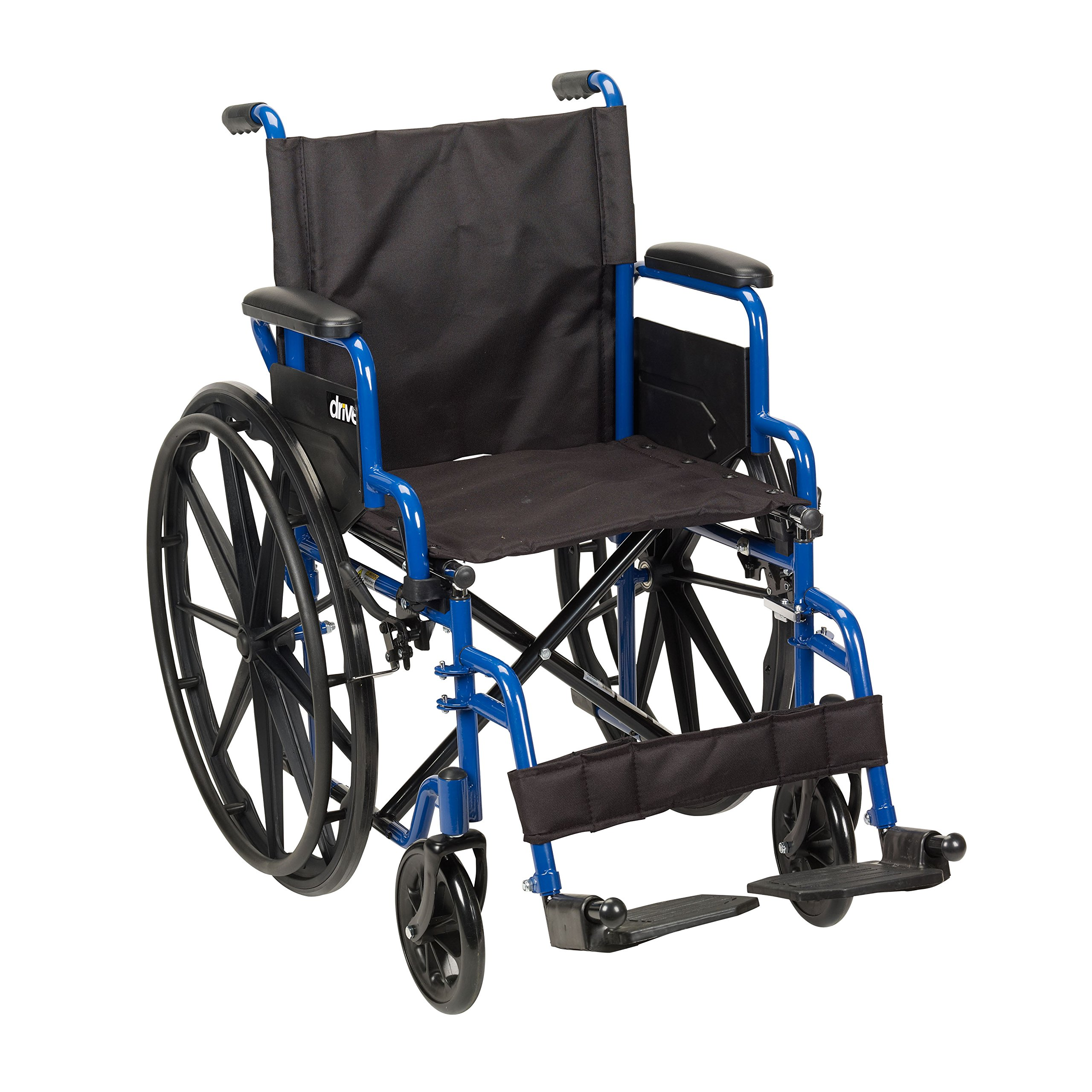 Drive Medical Blue Streak Wheelchair with Flip Back Desk Arms, Swing Away Footrests, 18'' Seat by Drive Medical
