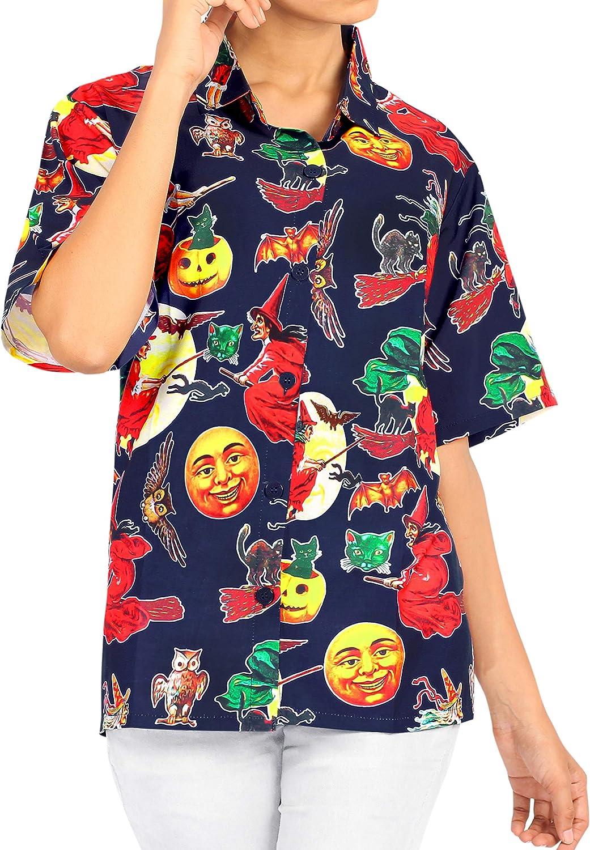 HAPPY BAY Vestido de la Camisa Hawaiana botón Casual de Las Mujeres Camisas Vintage Piratas Calabaza Skulls Cráneo Cosplay Disfraces De Fiesta De Halloween Scary Witch Ghost Pumpkin Shirt para Mujer