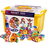 GLOUE 254 PCS Magnetic Building Blocks Magnets Toys 200-Piece Magnetic Stacking Tiles & 54 Letter Card w/Stickers - Deluxe Building Set Boys & Girls (254)