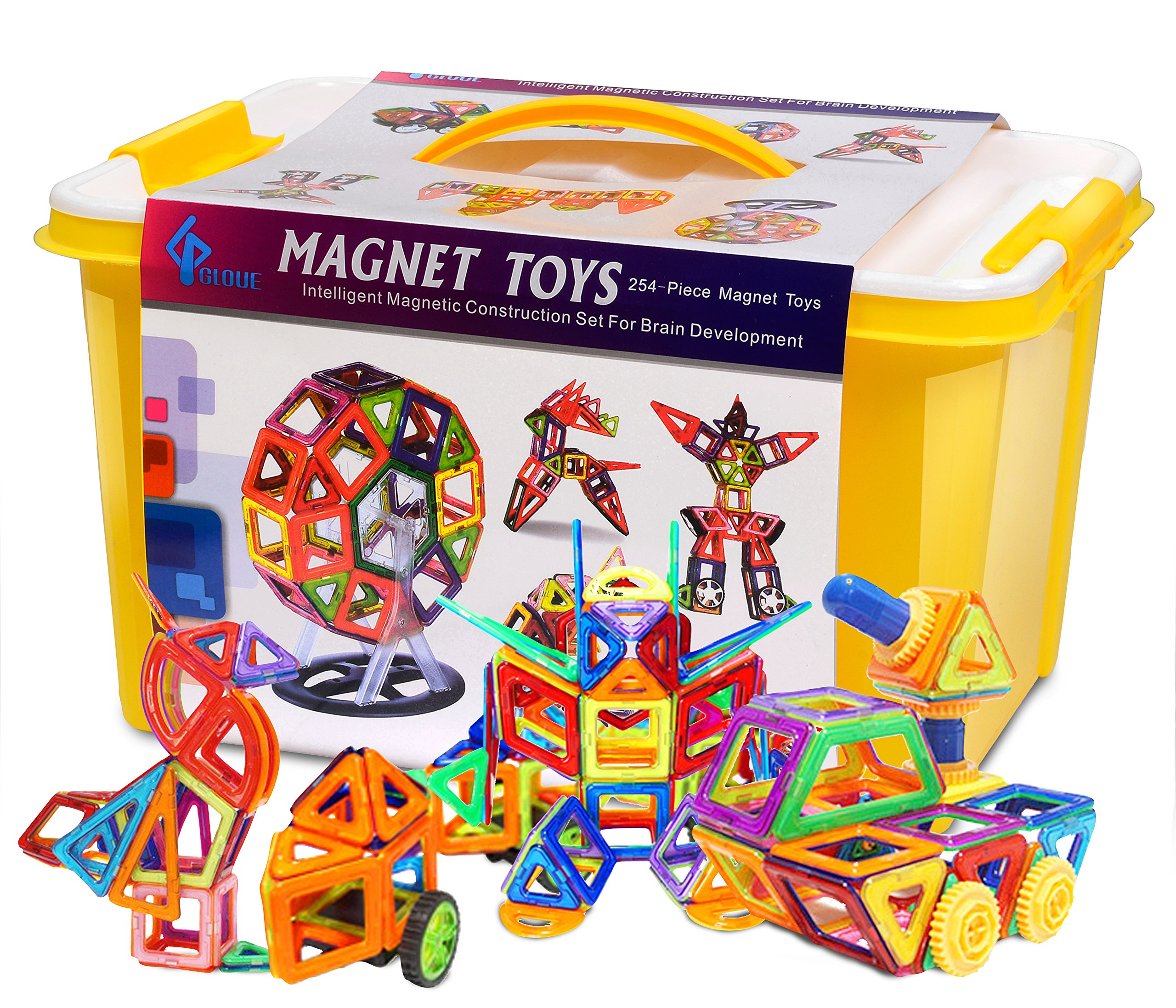 GLOUE 254 PCS Magnetic Building Blocks Magnets Toys 200-Piece Magnetic Stacking Tiles & 54 Letter Card w/Stickers Deluxe Building Set for Boys & Girls-254 by GLOUE (Image #1)