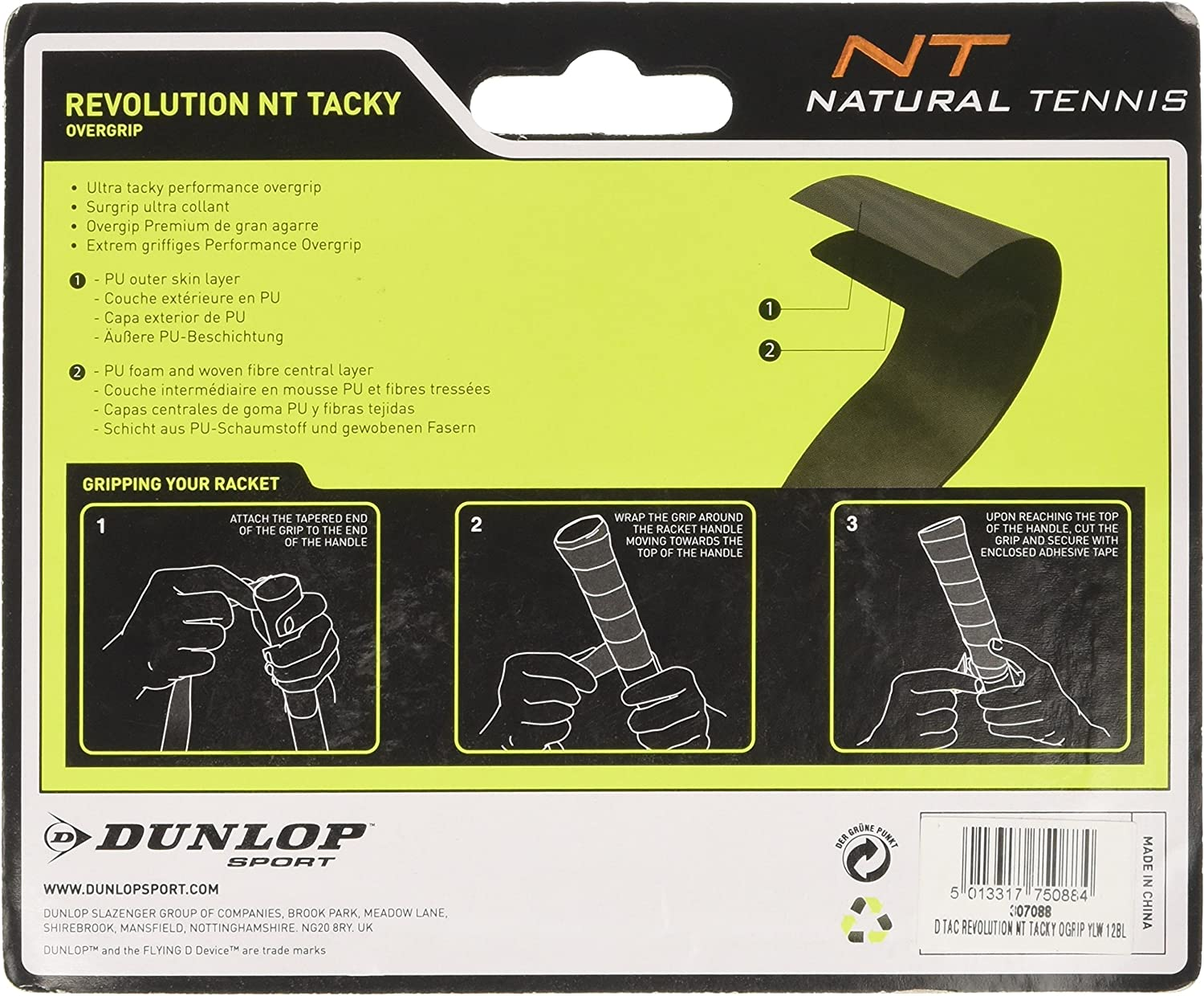 Amarillo One Size DUNLOP Over Grip Revolution NT Tacky 3/Unidades 307088