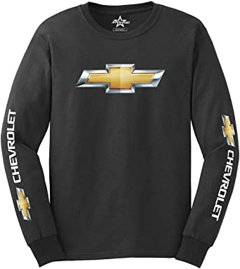 3c442213bfb JH Design Men s Chevy Racing Long Sleeve T-Shirt Crew Neck Shirt Charcoal  Gray