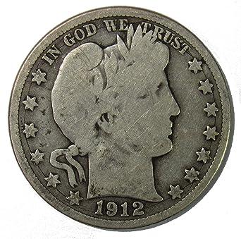 1912 50c Barber Silver Half Dollar US Coin VG Very Good