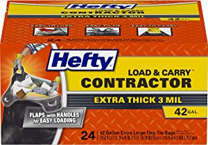 Hefty Load and Carry Contractor Heavy Duty Trash/Garbage Bags, 42 Gallon, 24 Count (Pack of 2)